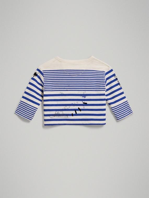 Haut à manches longues en coton avec imprimé SW1 (Lapis Vif/blanc Naturel) | Burberry Canada - cell image 3