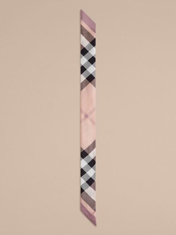 Rosa cenere Sciarpa sottile in seta con stampa con motivo check Rosa Cenere - cell image 2