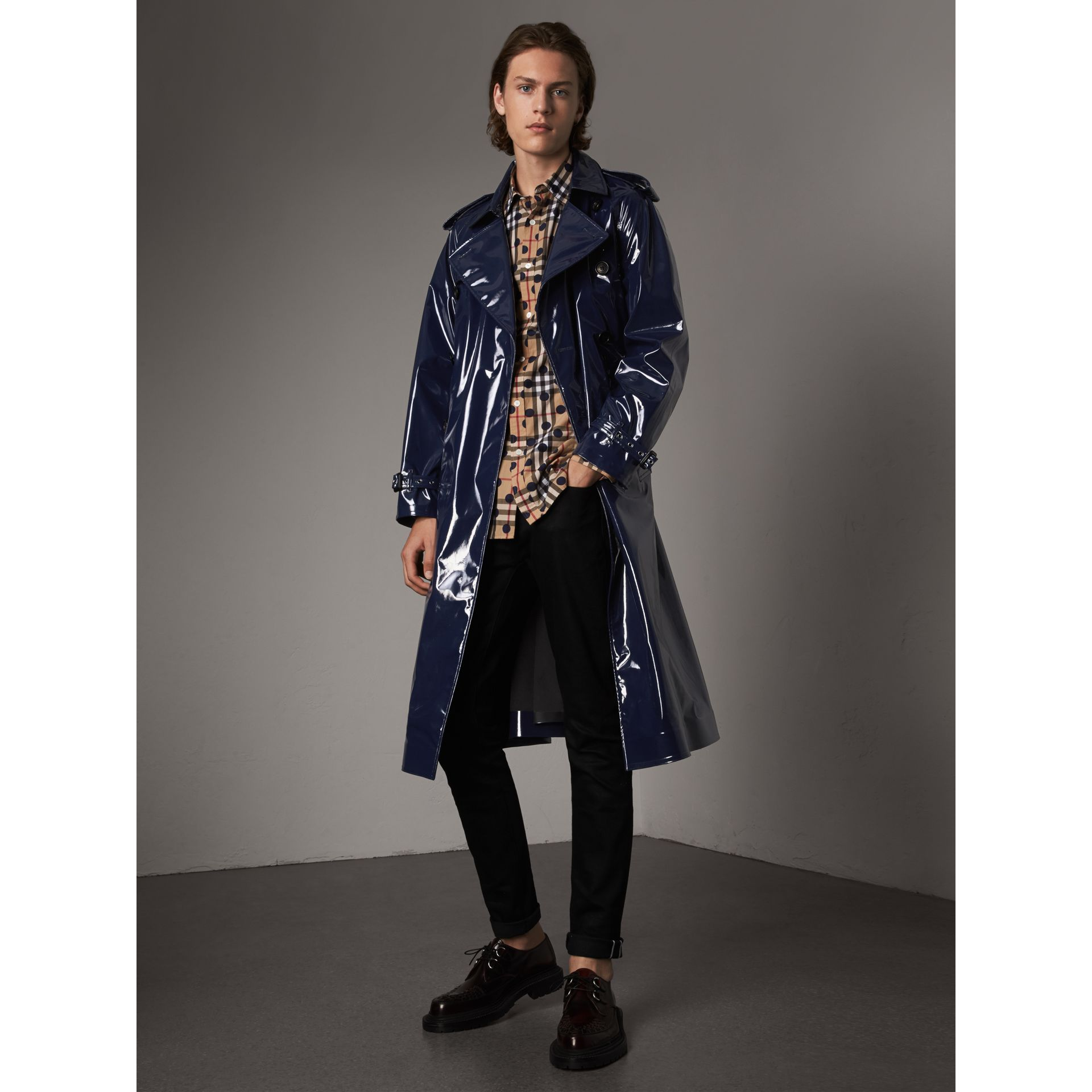 Laminated Cotton Trench Coat in Navy - Men | Burberry - gallery image 1