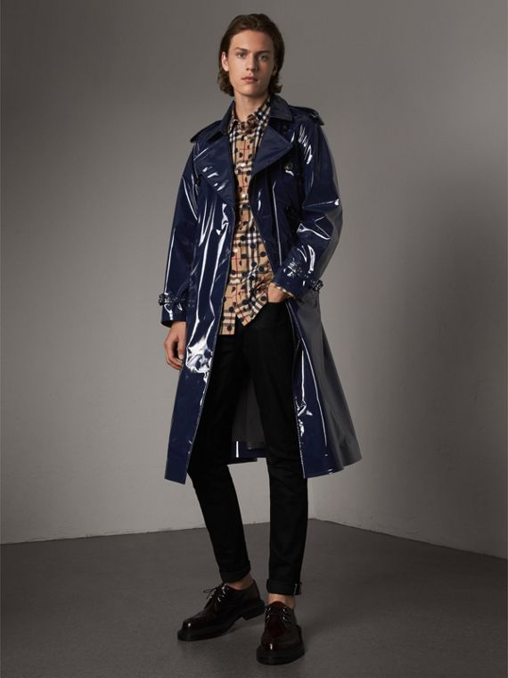 Trench coat in cotone laminato (Navy)