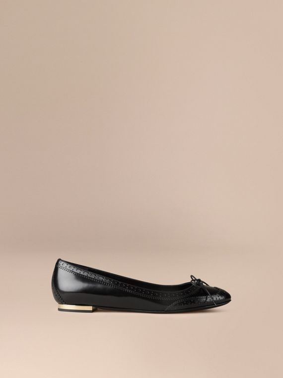 Brogue Detail Leather Ballerinas