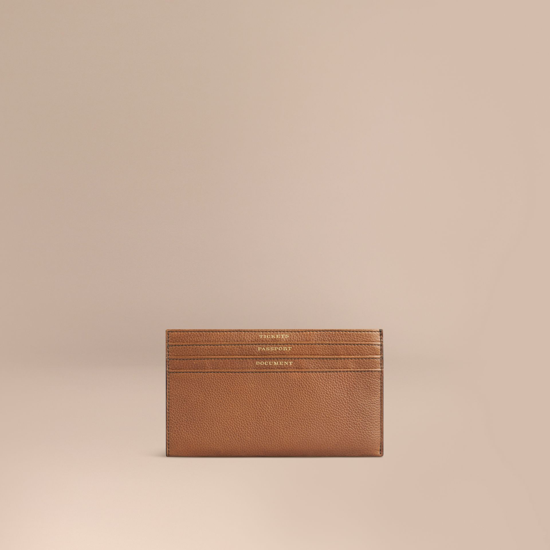 Grainy Leather Travel Case in Tan | Burberry - gallery image 1