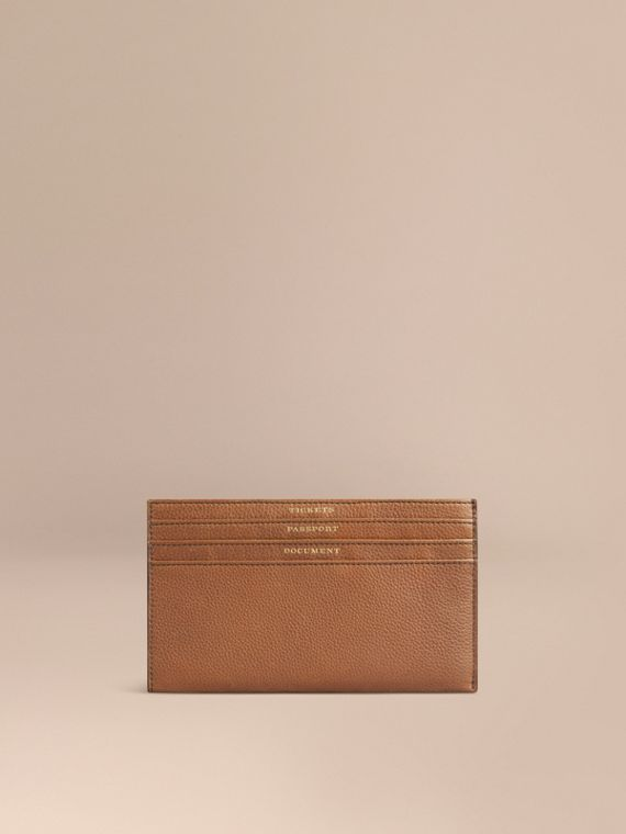 Grainy Leather Travel Case in Tan | Burberry