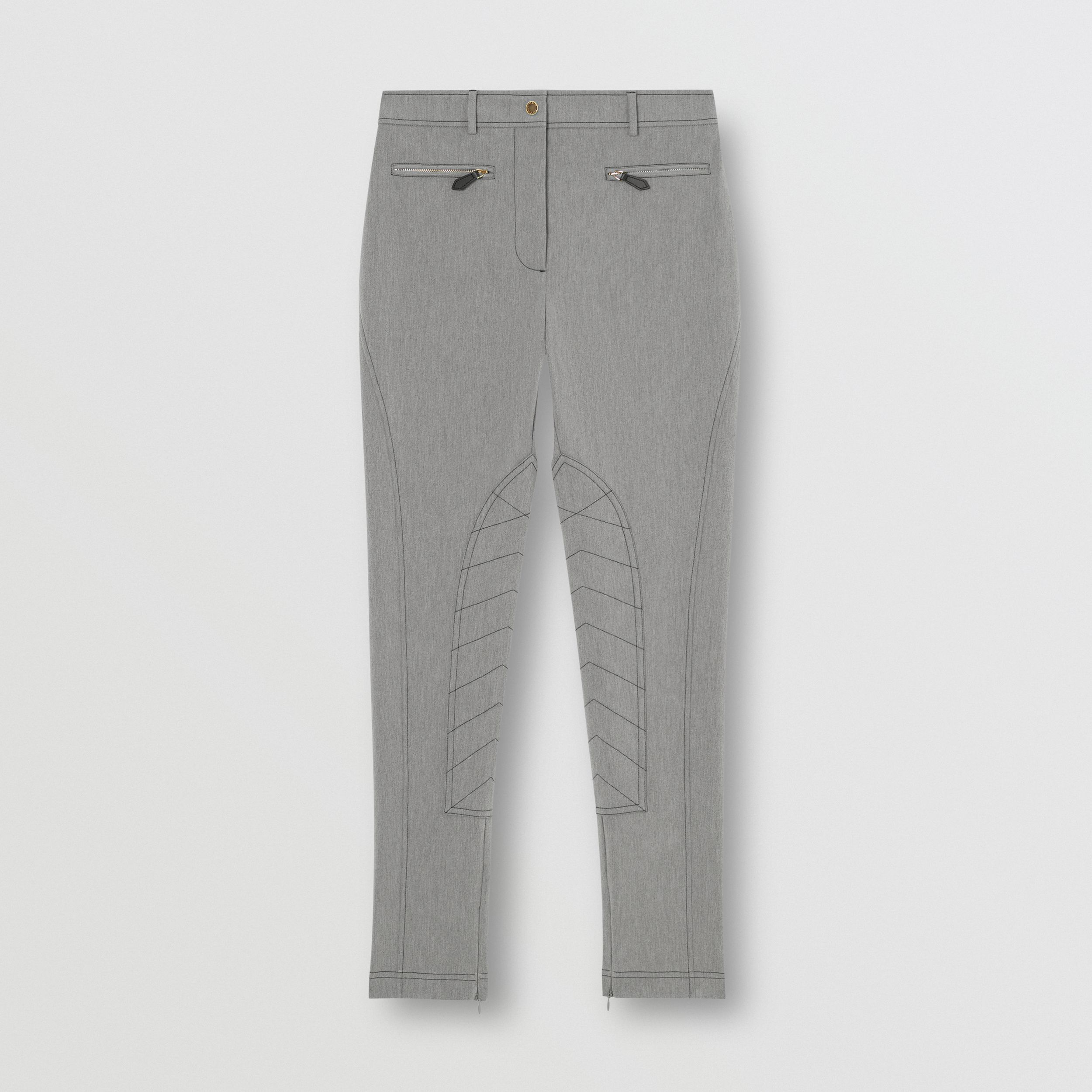Zip Detail Stretch Cotton Blend Trousers in Grey Melange - Women | Burberry - 4