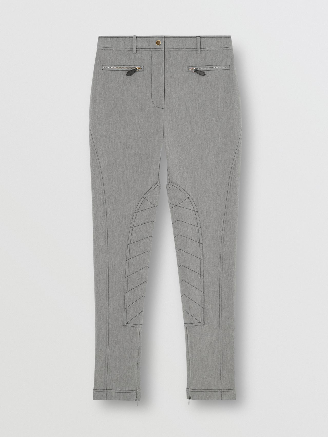 Zip Detail Stretch Cotton Blend Trousers in Grey Melange