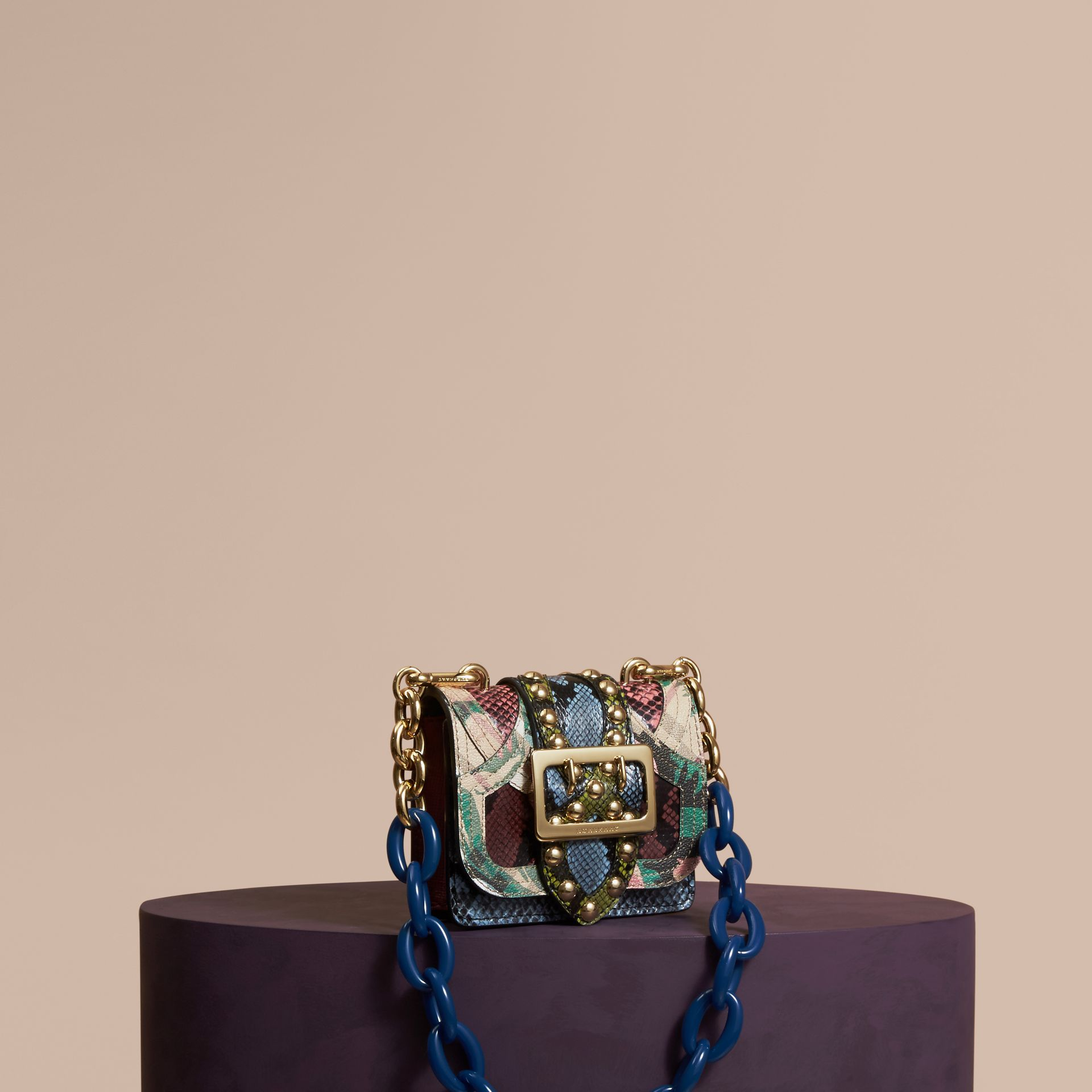 The Mini Square Buckle Bag in Riveted Snakeskin and Floral Print - gallery image 1