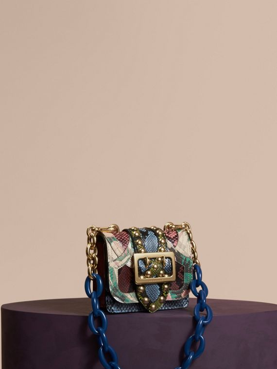 The Mini Square Buckle Bag in Riveted Snakeskin and Floral Print