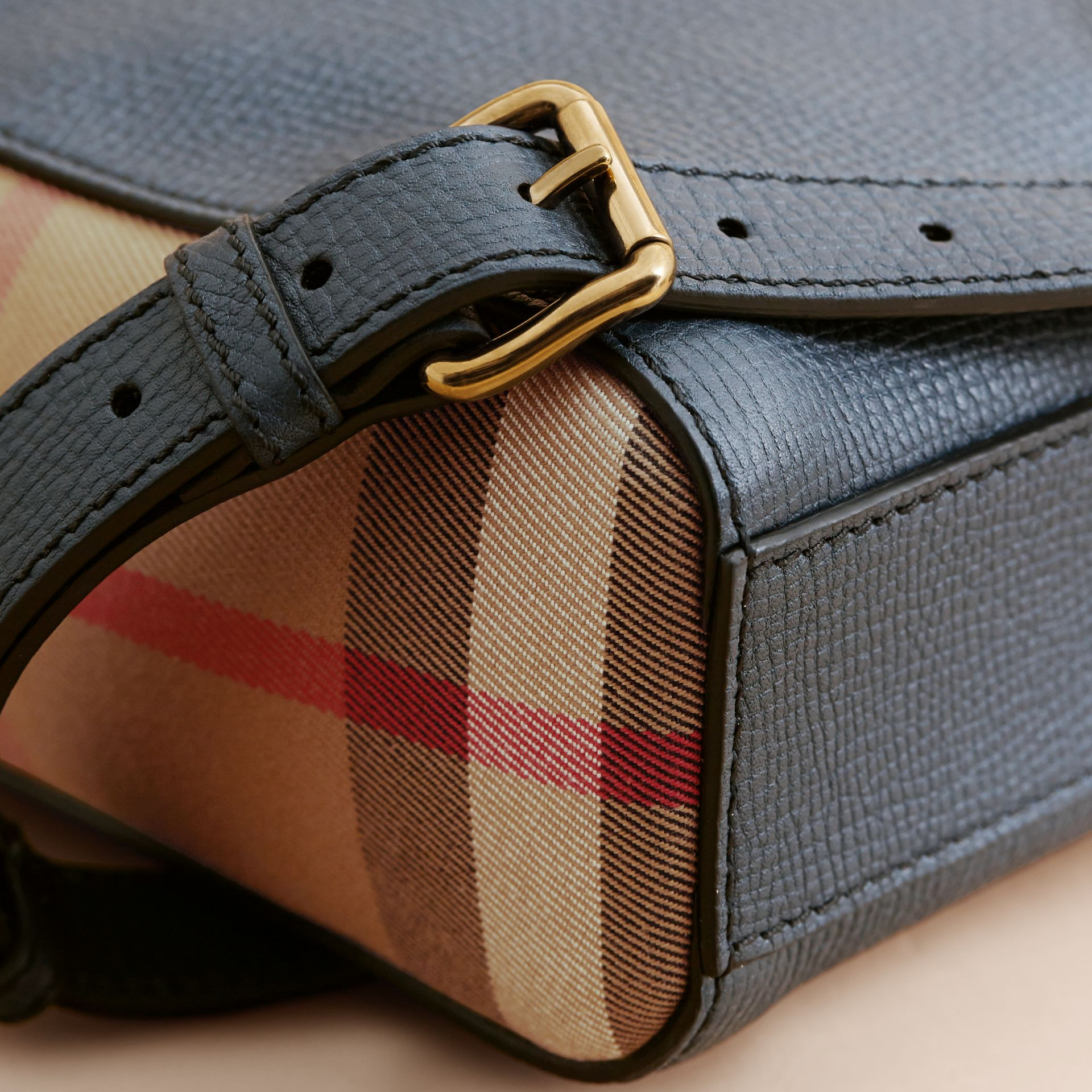 Leather and House Check Briefcase in Storm Blue - Men | Burberry - gallery image 7