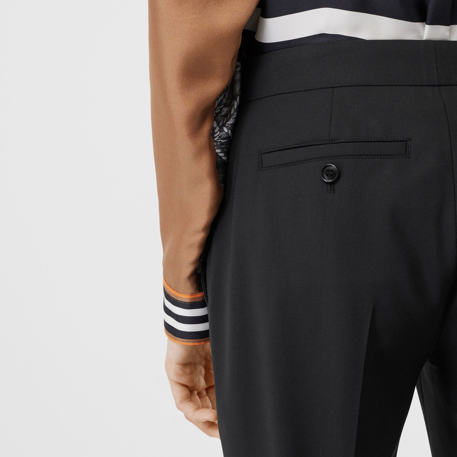 Side Stripe Stretch Wool Tailored Trousers in Black - Women | Burberry - gallery image 4