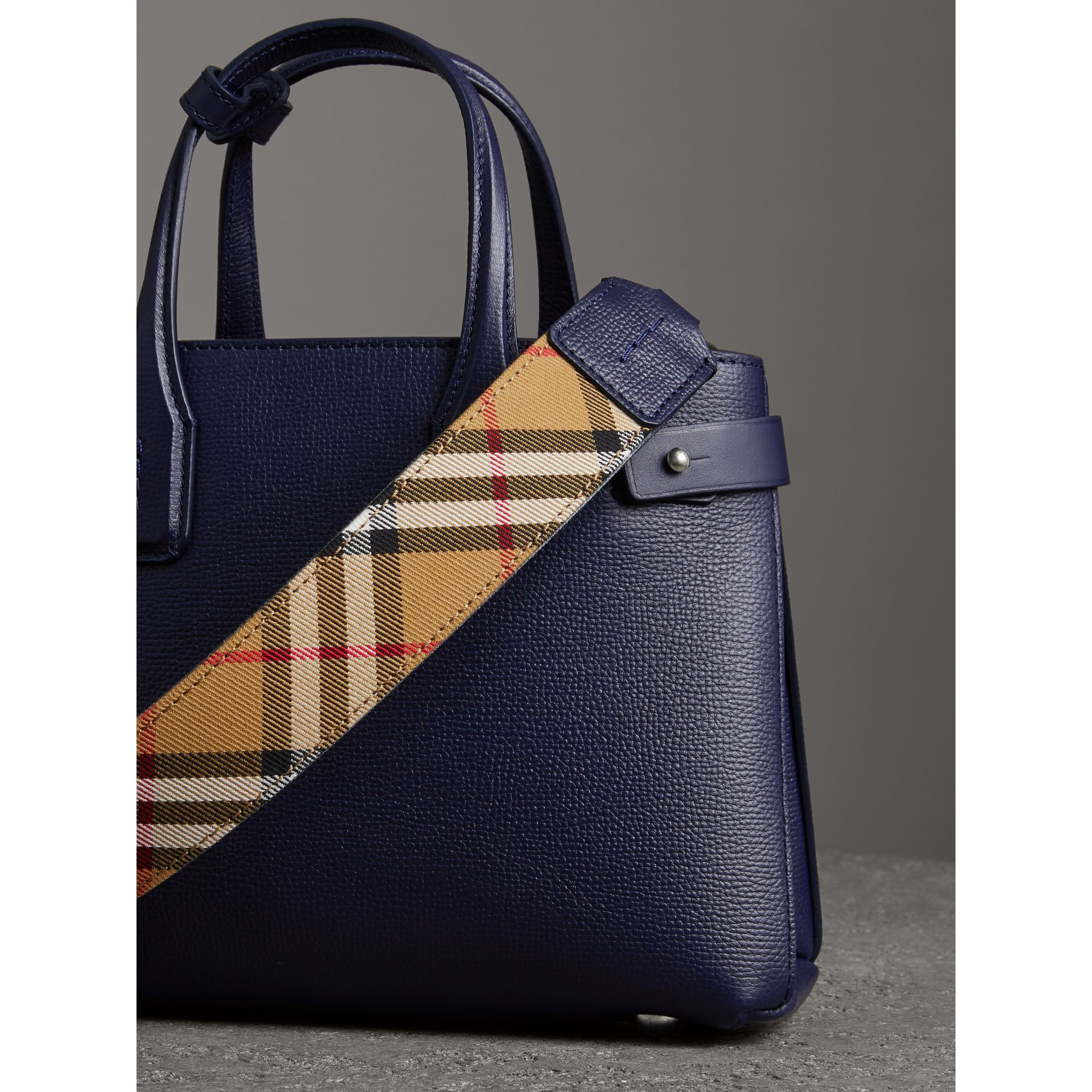 The Small Banner in Leather and Vintage Check in Regency Blue - Women | Burberry Australia - gallery image 4