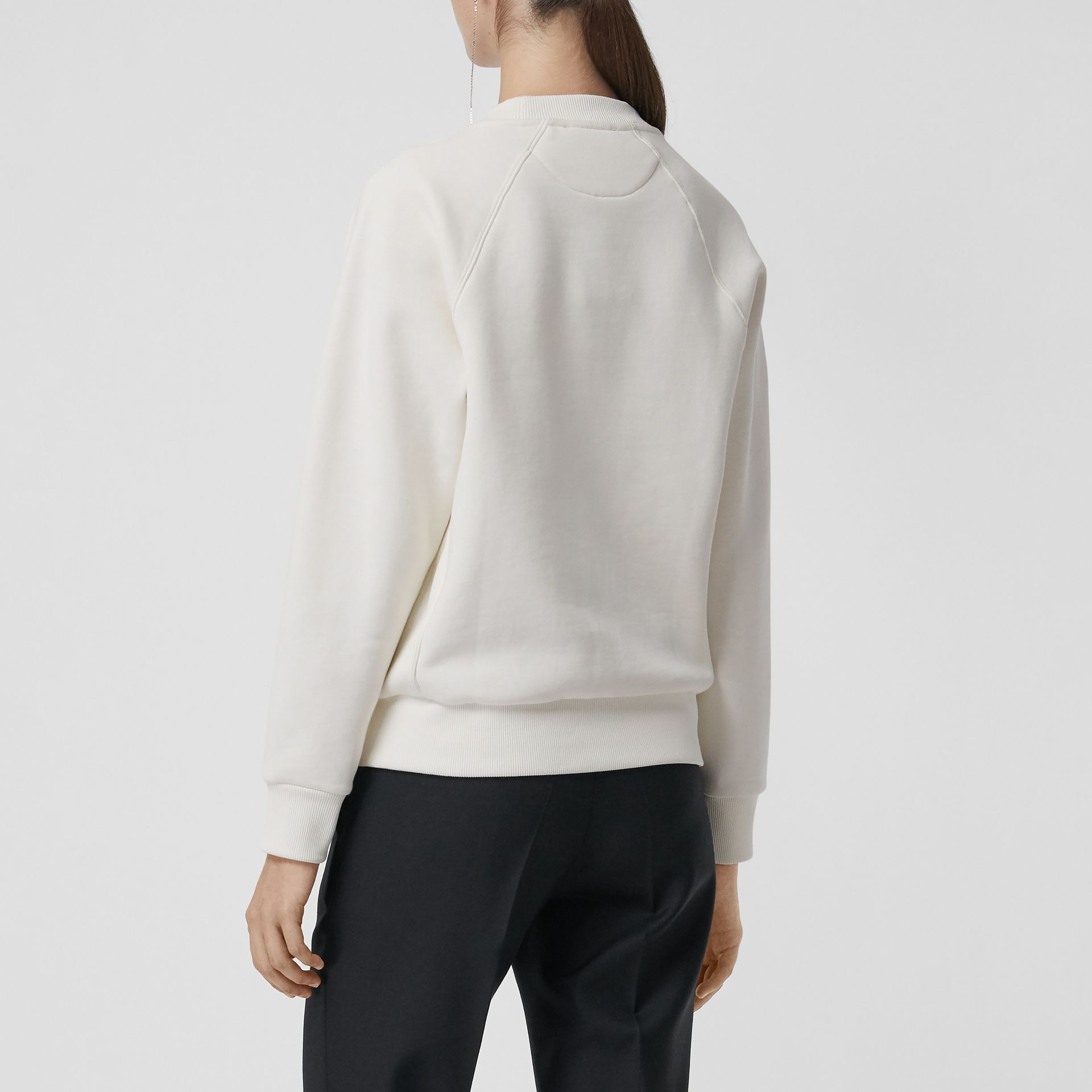 Spot Print Merino Wool and Jersey Sweater in White - Women | Burberry - gallery image 2