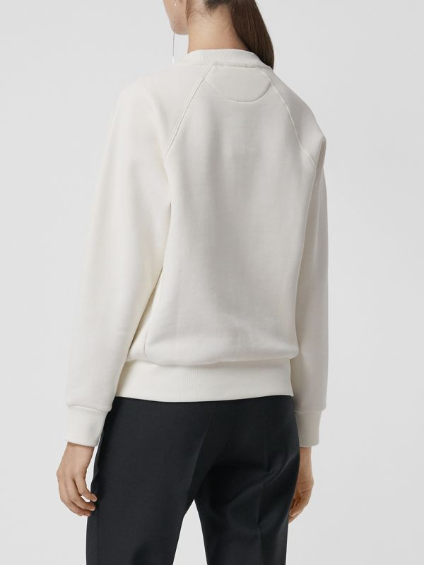 Spot Print Merino Wool and Jersey Sweater in White - Women | Burberry - cell image 2