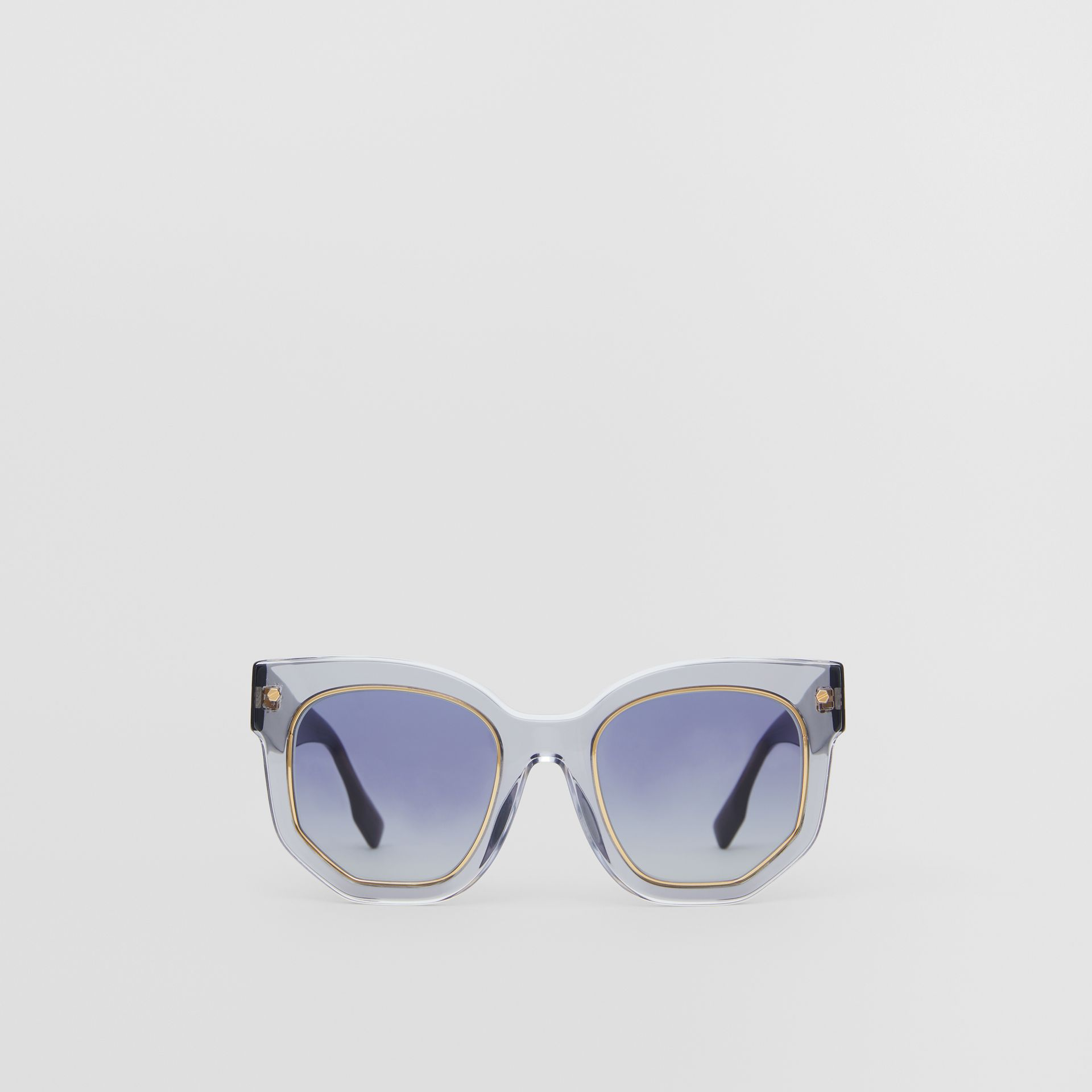 Geometric Frame Sunglasses in Grey - Women | Burberry - gallery image 0