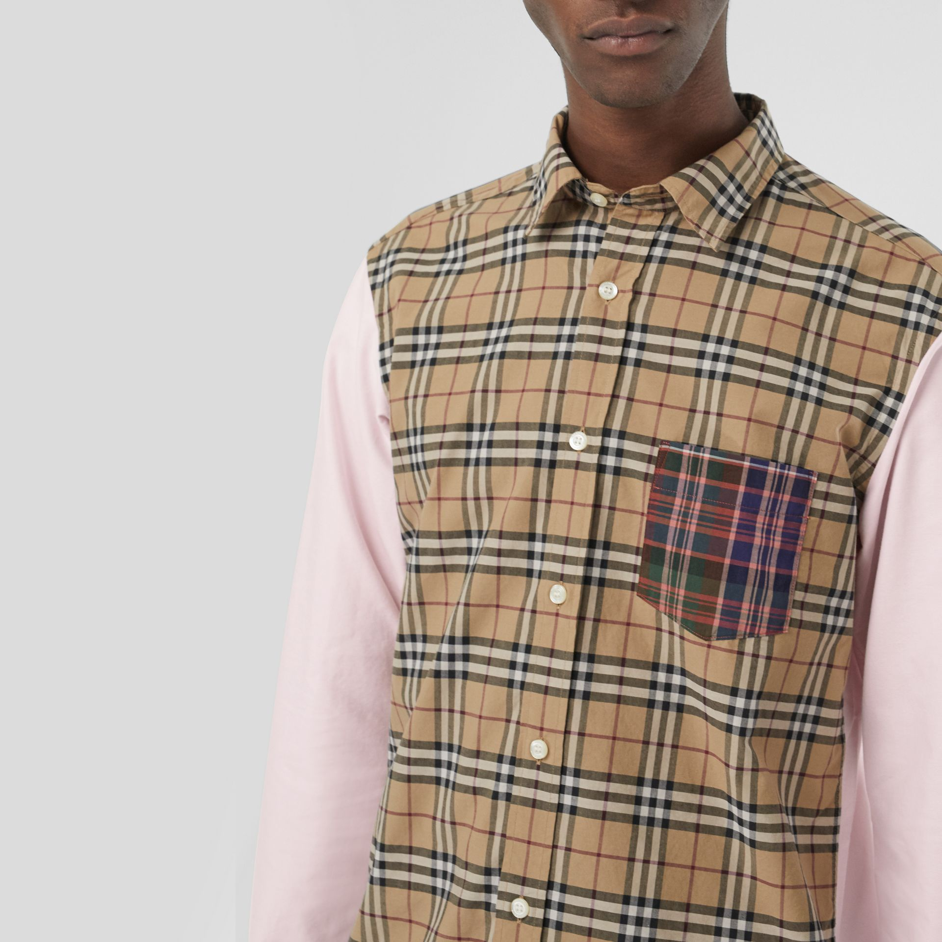 Contrast Check Panelled Cotton Shirt in Camel - Men | Burberry United States - gallery image 1
