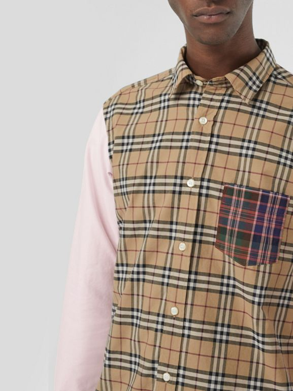 Contrast Check Panelled Cotton Shirt in Camel - Men | Burberry United States - cell image 1