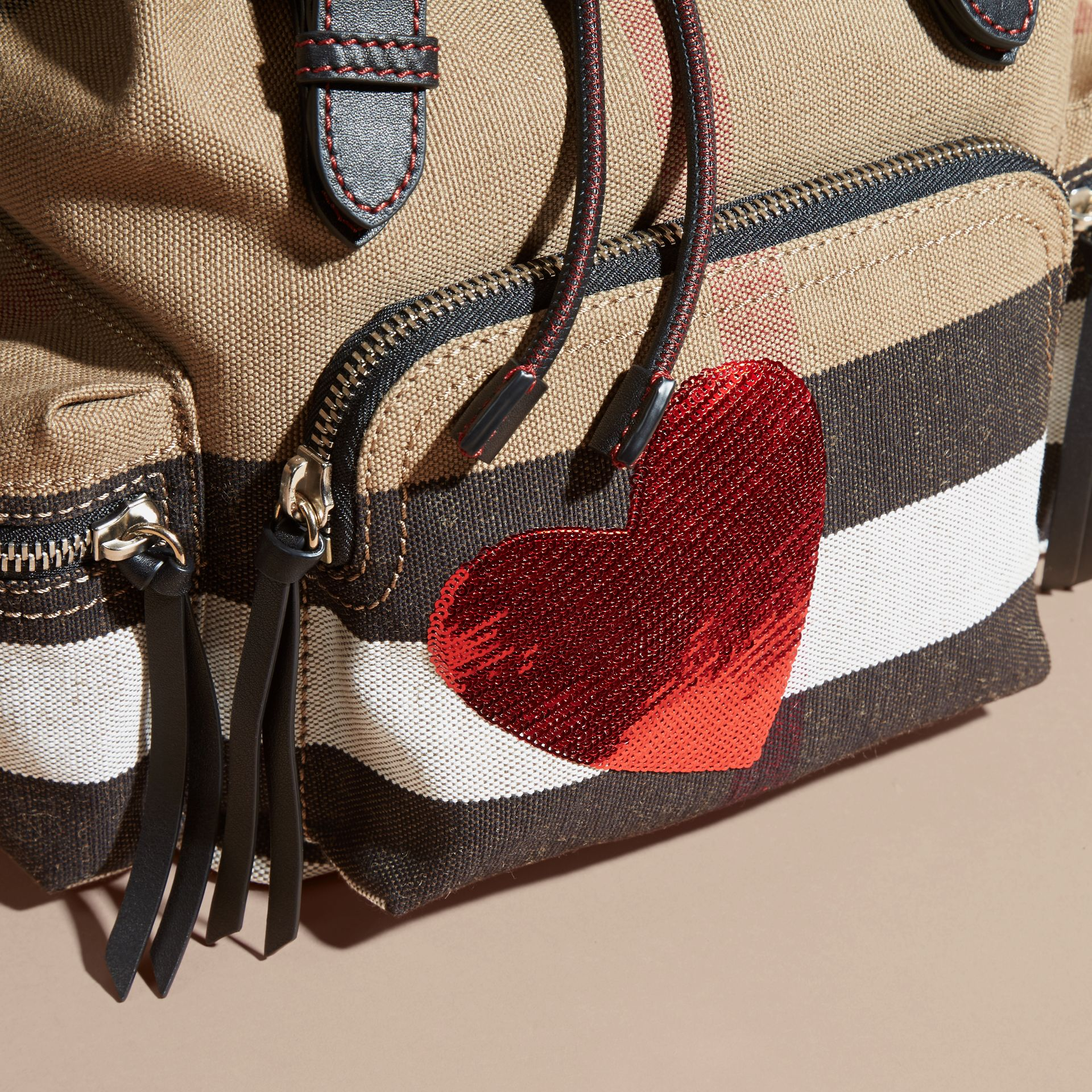 Red The Medium Rucksack in Canvas Check with Sequinned Heart - gallery image 2