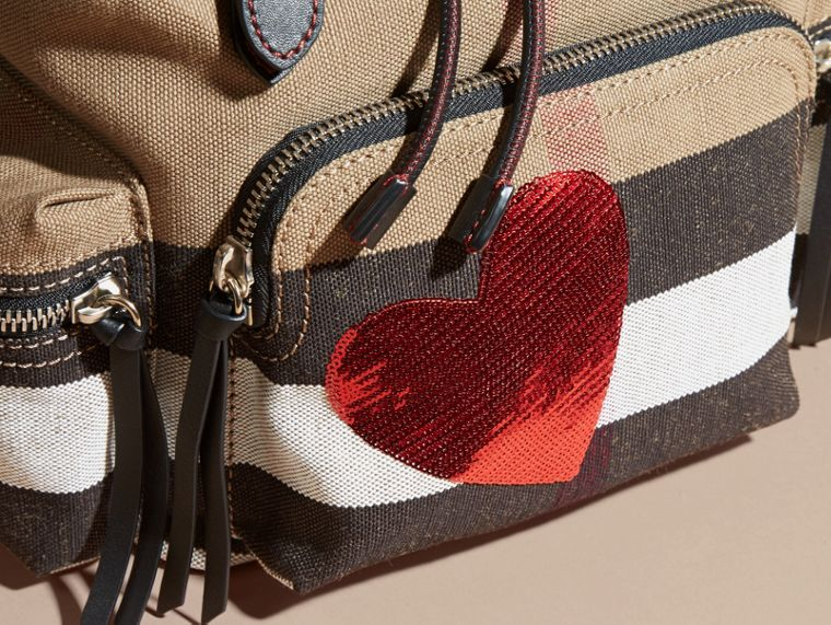 The Medium Rucksack in Canvas Check with Sequinned Heart - cell image 1