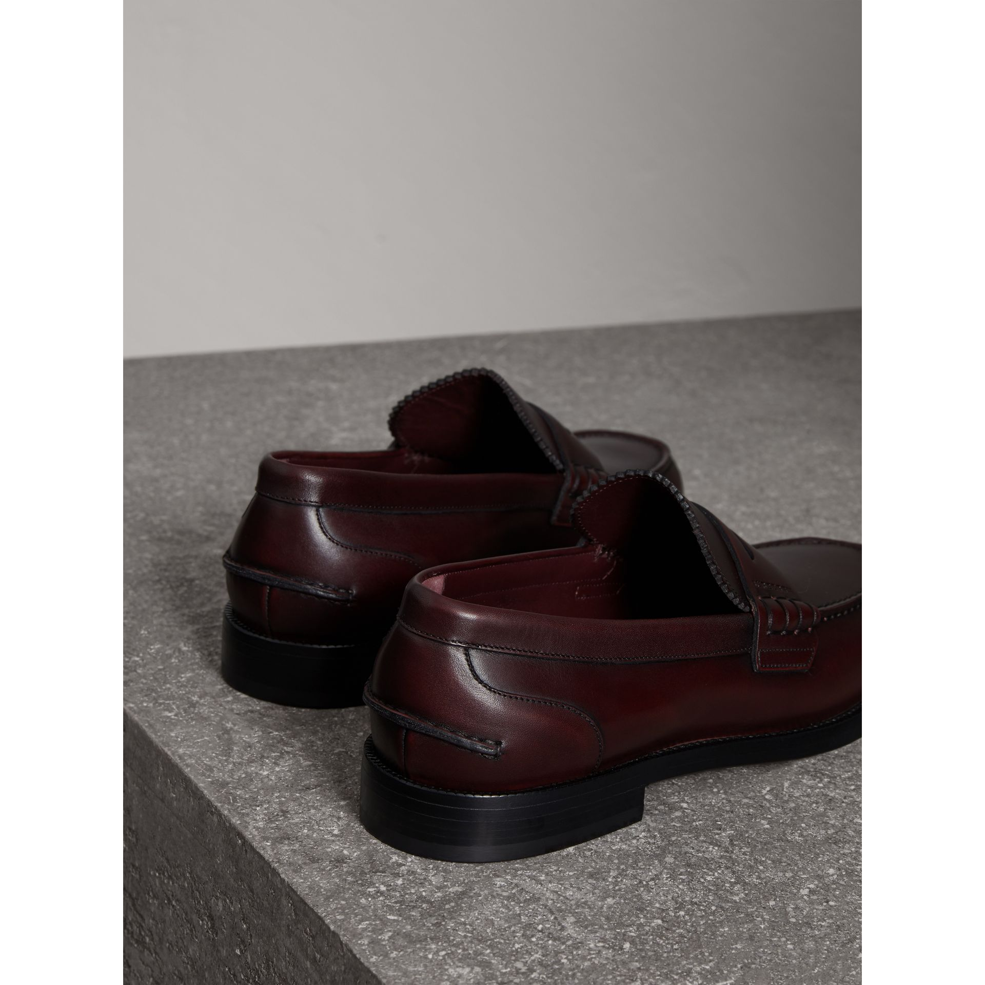 Leather Penny Loafers in Bordeaux - Men | Burberry Singapore - gallery image 3