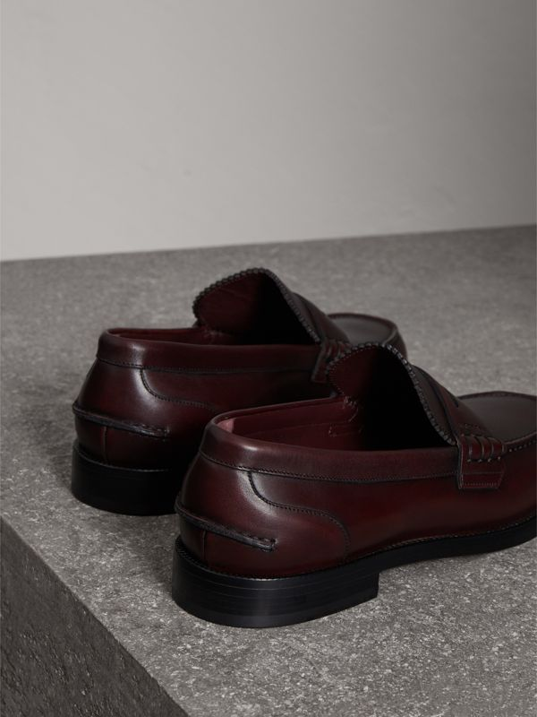 Leather Penny Loafers in Bordeaux - Men | Burberry Singapore - cell image 3