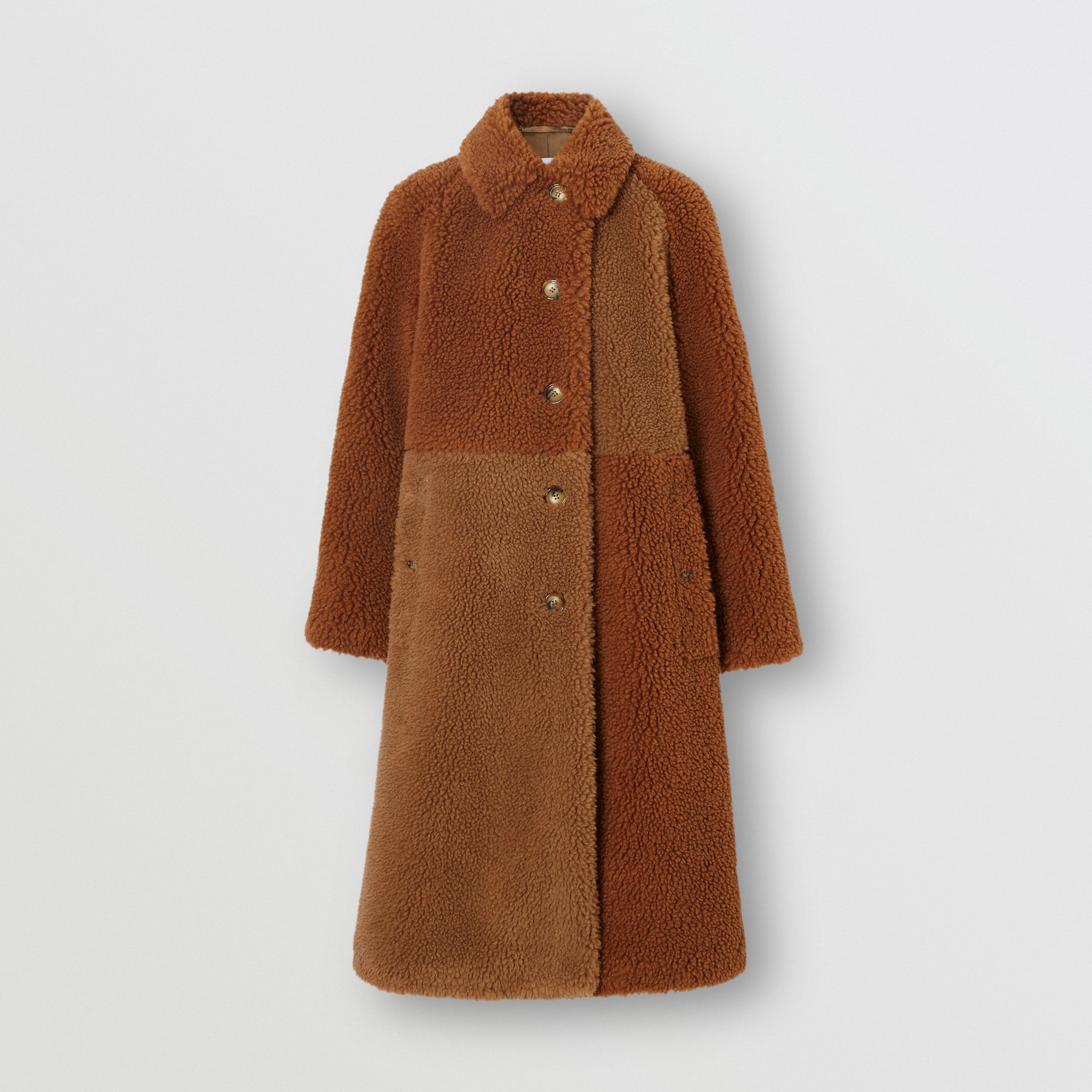 Faux Shearling and Camel Hair Blend Coat in Brown - Women | Burberry - 4