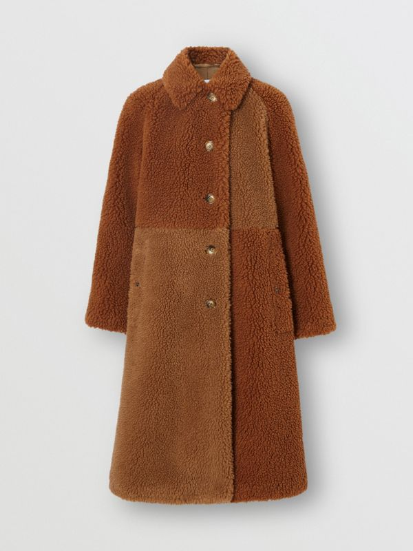 Faux Shearling and Camel Hair Blend Coat in Brown - Women | Burberry United Kingdom - cell image 3
