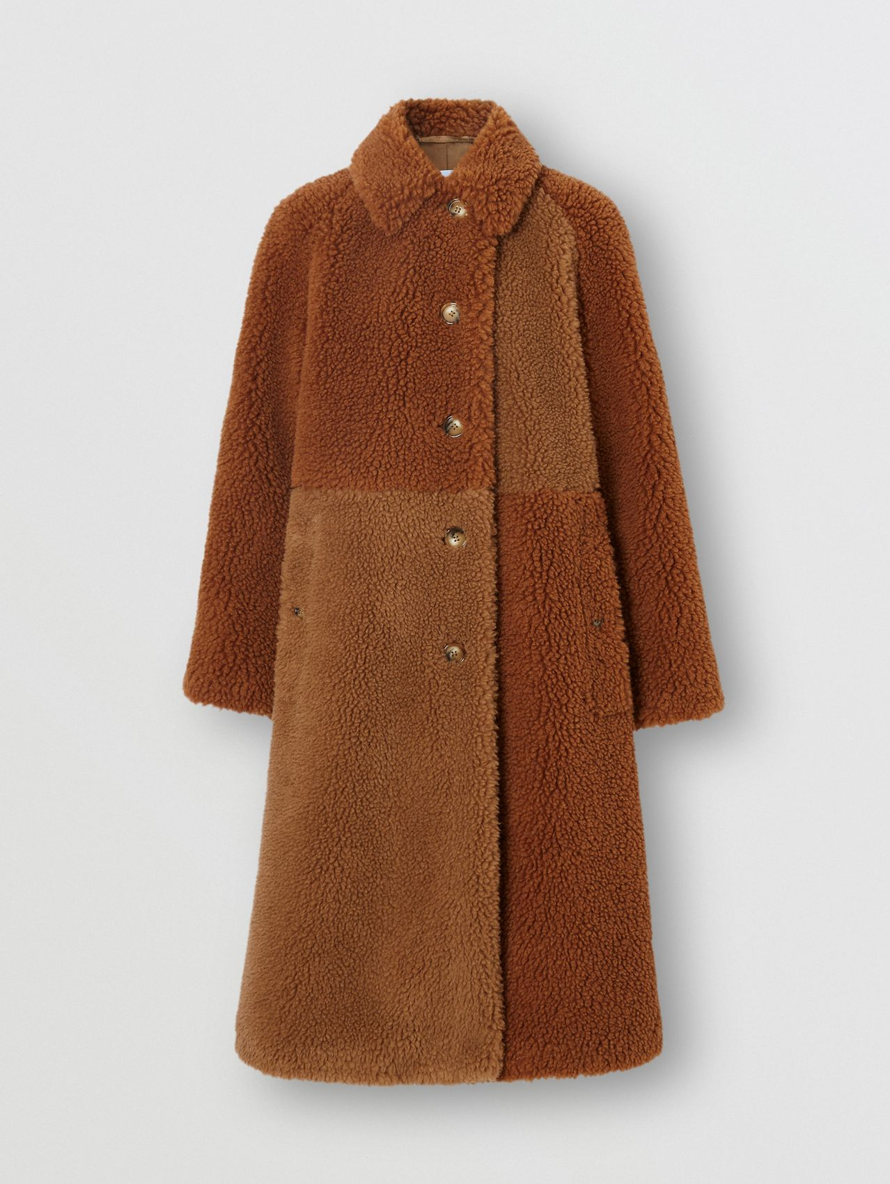 Faux Shearling and Camel Hair Blend Coat in Brown