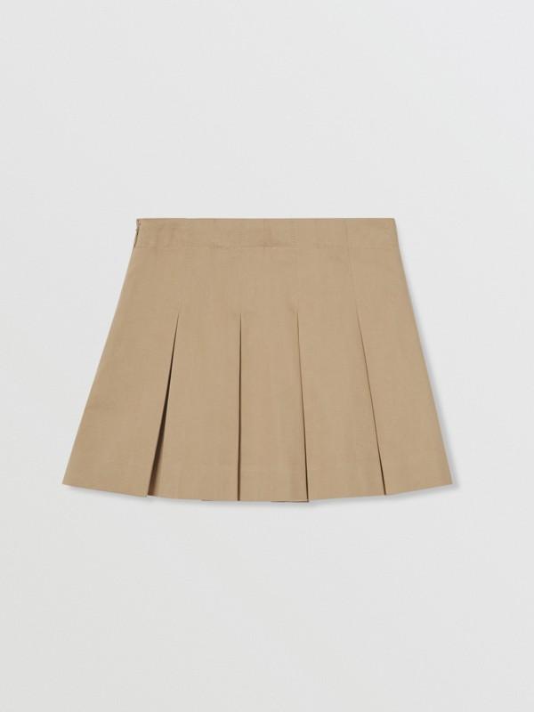Monogram Stripe Print Cotton Skirt in Honey | Burberry - cell image 2