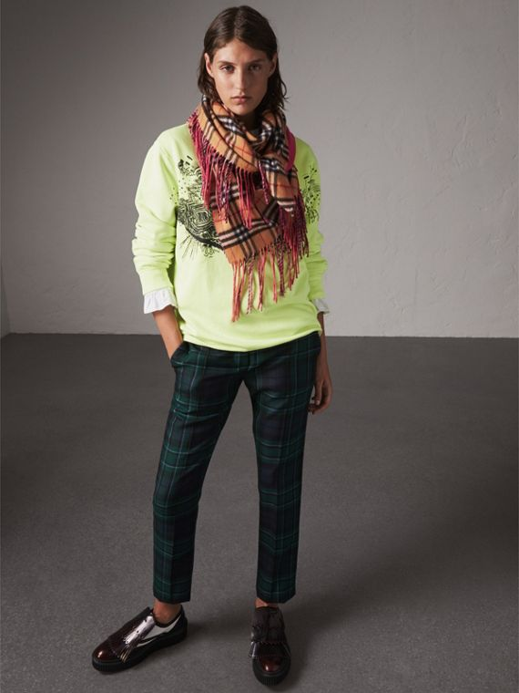 The Burberry Bandana in Vintage Check and Neon Cashmere in Bright Peony | Burberry United Kingdom - cell image 2