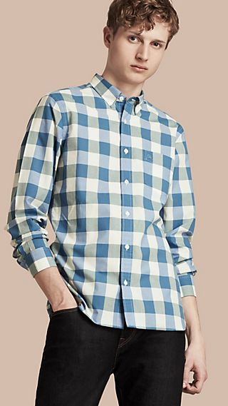 Button-down Collar Gingham Cotton Shirt