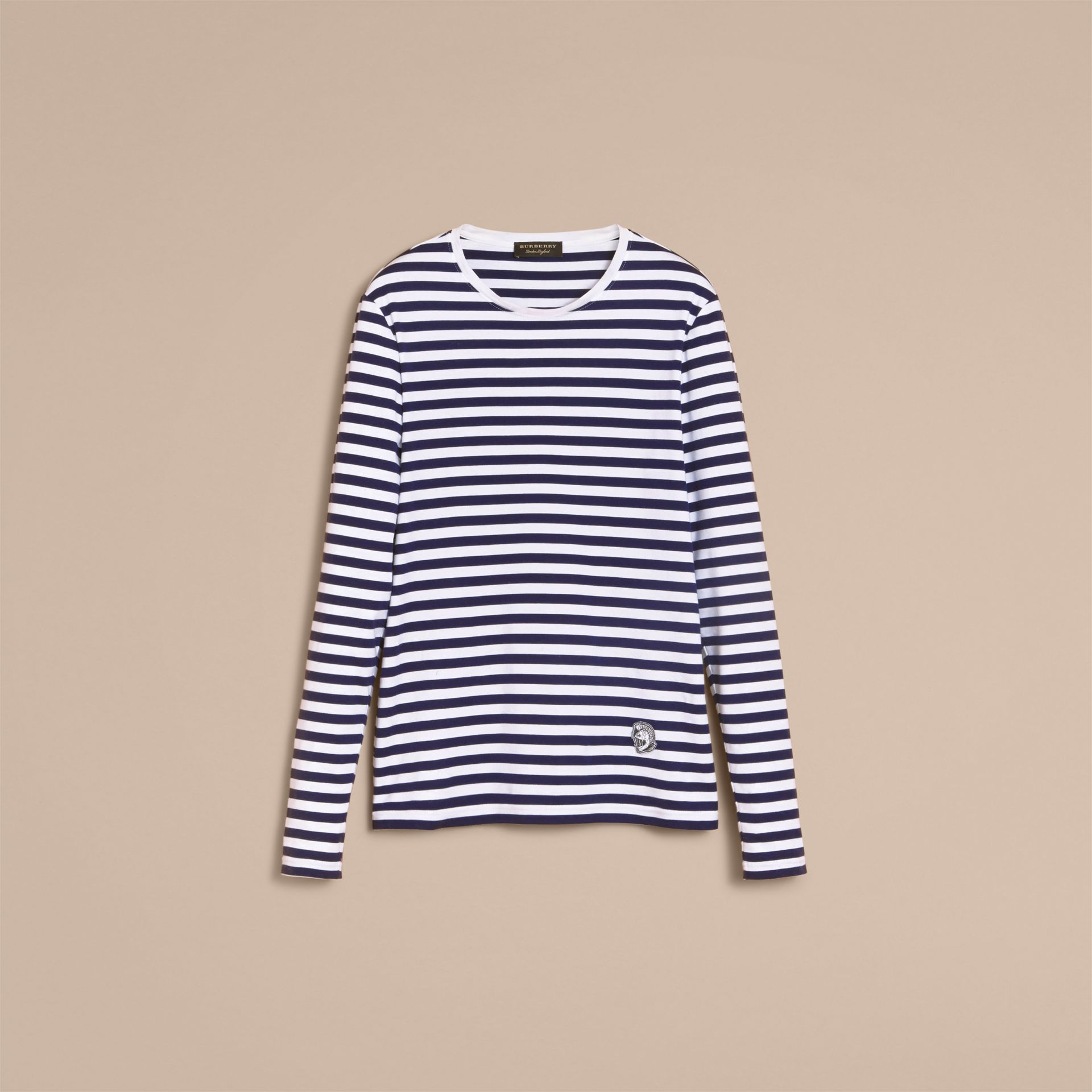 Unisex Pallas Helmet Motif Breton Stripe Cotton Top in Indigo - Men | Burberry - gallery image 4