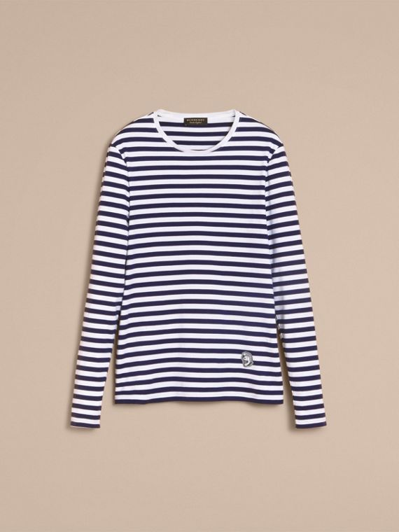 Unisex Pallas Helmet Motif Breton Stripe Cotton Top in Indigo - Men | Burberry - cell image 3