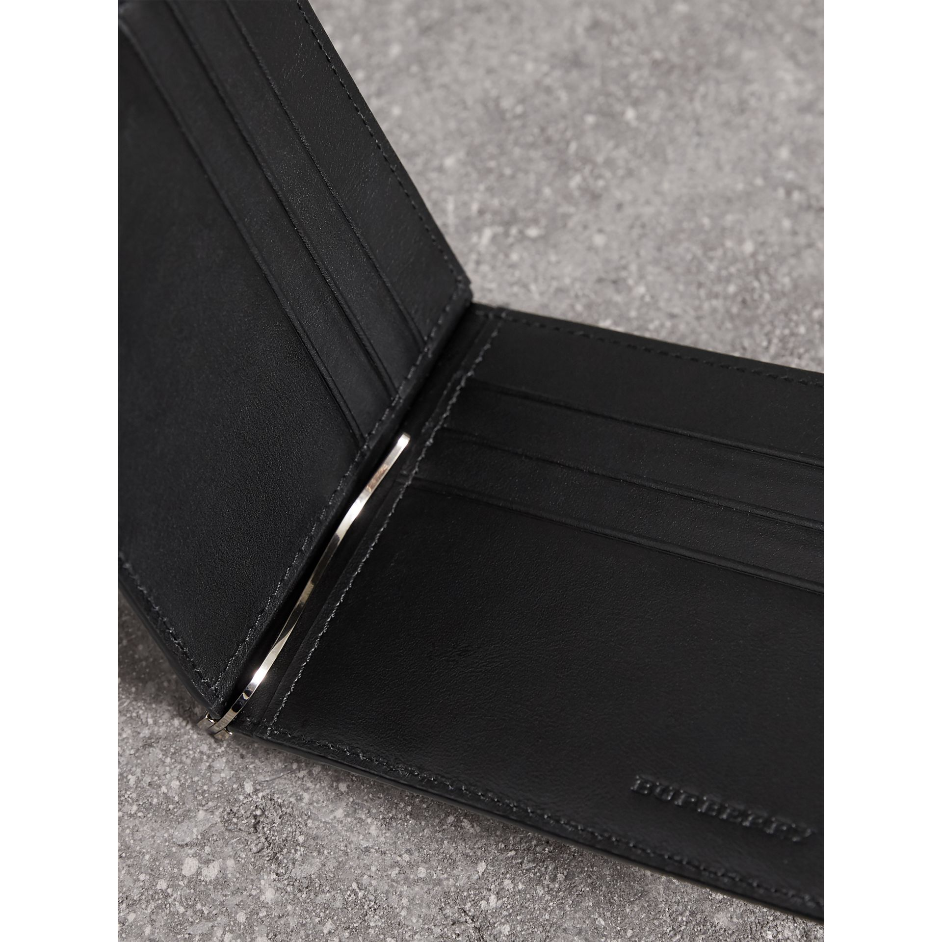 London Check Money Clip Wallet in Charcoal/black - Men | Burberry Australia - gallery image 1