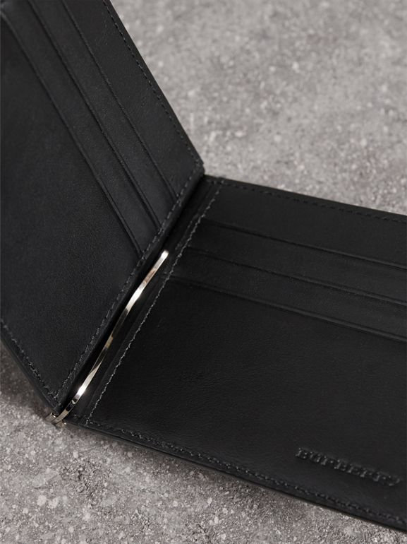 London Check Money Clip Wallet in Charcoal/black - Men | Burberry Singapore - cell image 1
