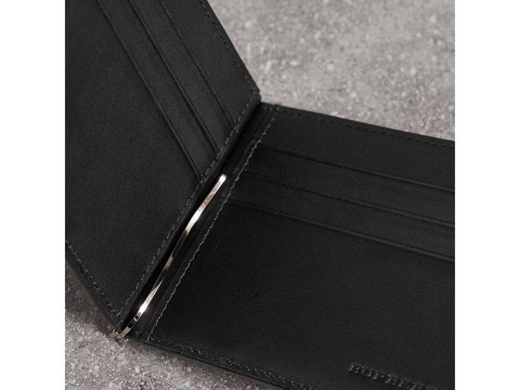 London Check Money Clip Wallet in Charcoal/black - Men | Burberry - cell image 1