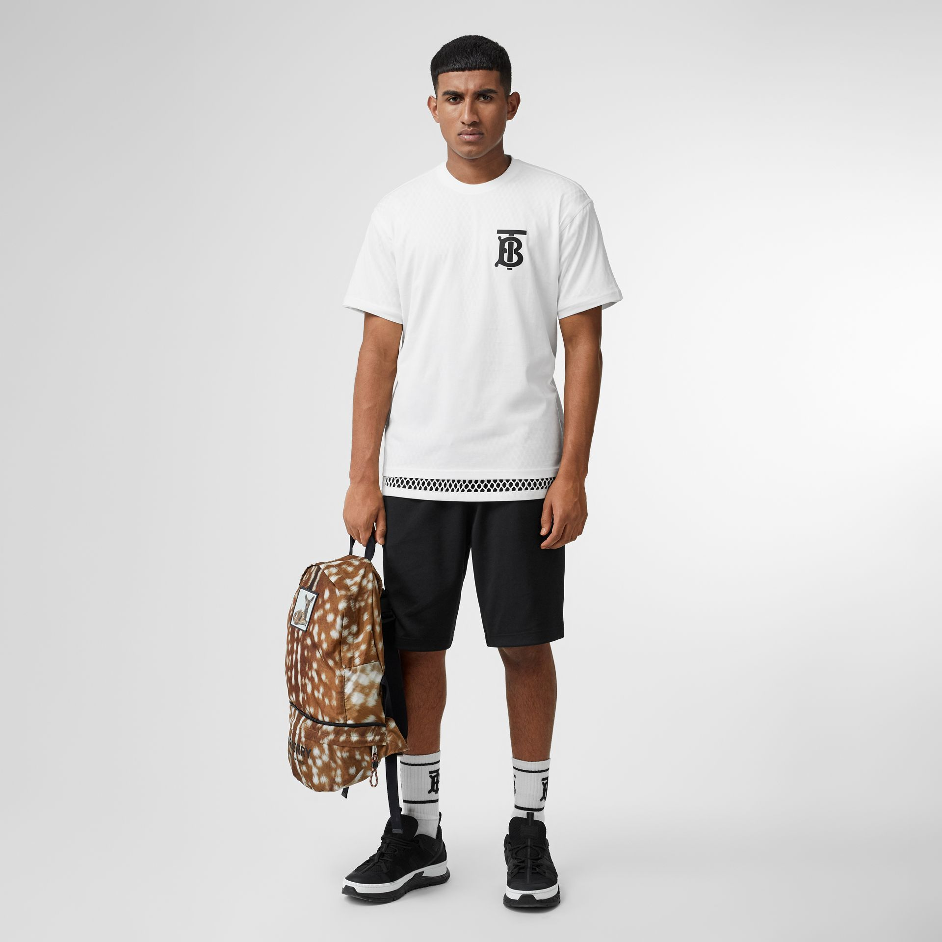 Monogram Motif Cotton Oversized T-shirt in White | Burberry - gallery image 0