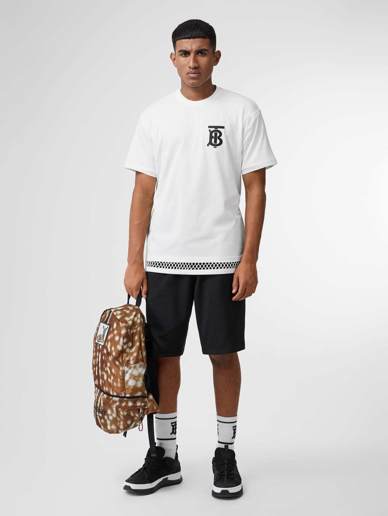 Monogram Motif Cotton Oversized T-shirt in White