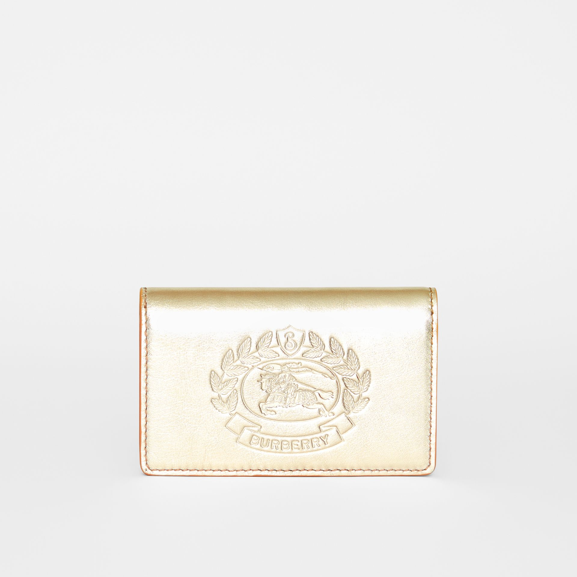 Small Embossed Crest Metallic Leather Wallet in Gold - Women | Burberry United Kingdom - gallery image 0