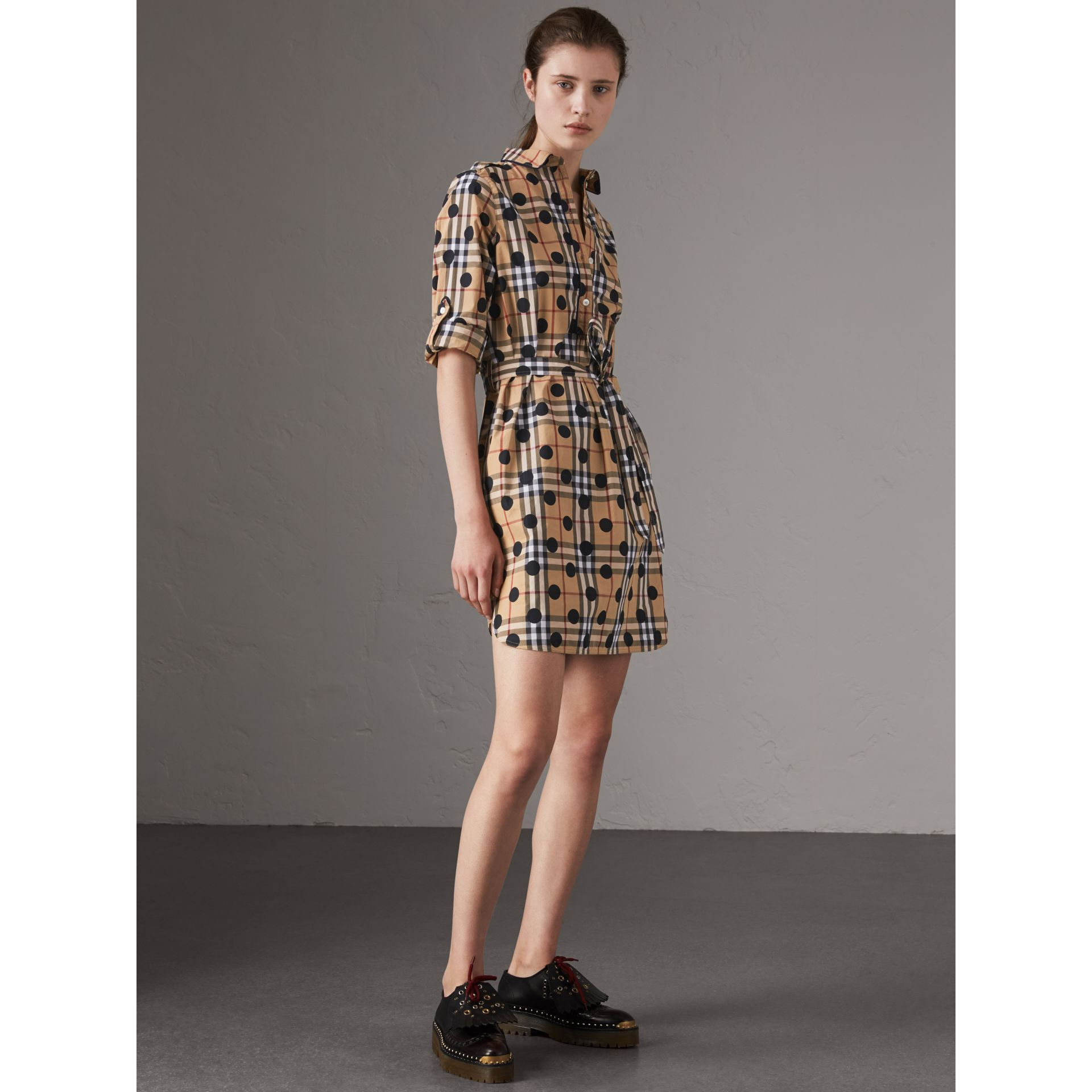 Polka-dot Print Check Cotton Tunic Dress in Navy - Women | Burberry Australia - gallery image 4