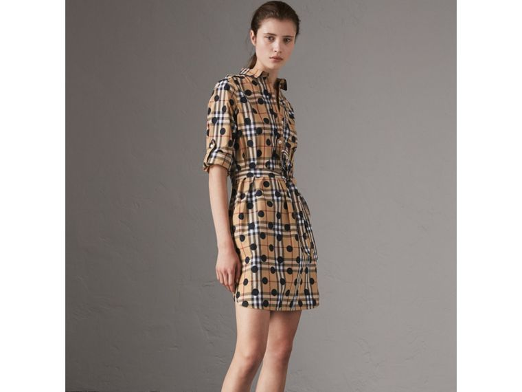 Polka-dot Print Check Cotton Tunic Dress in Navy - Women | Burberry Hong Kong - cell image 4