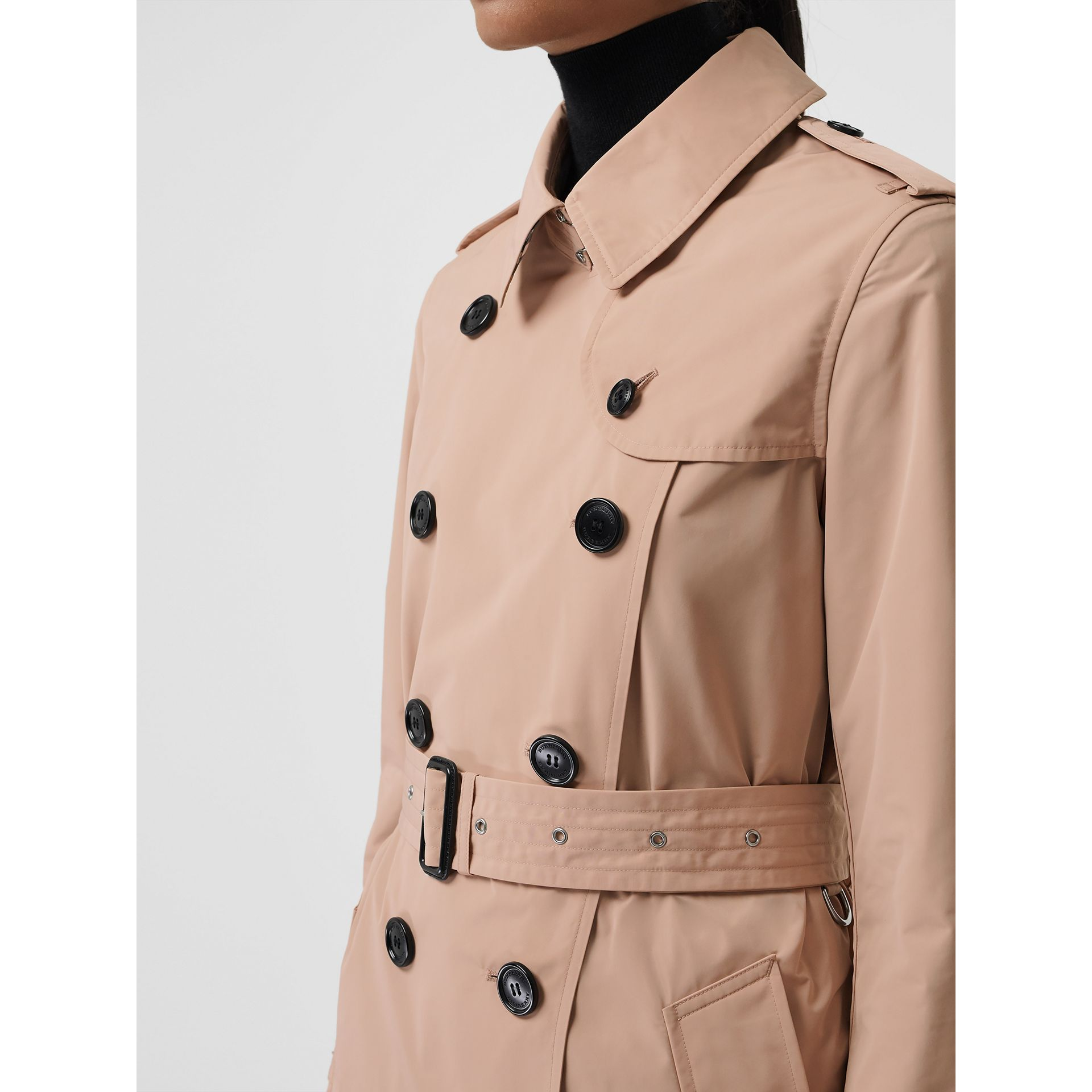 Detachable Hood Taffeta Trench Coat in Chalk Pink - Women | Burberry - gallery image 4