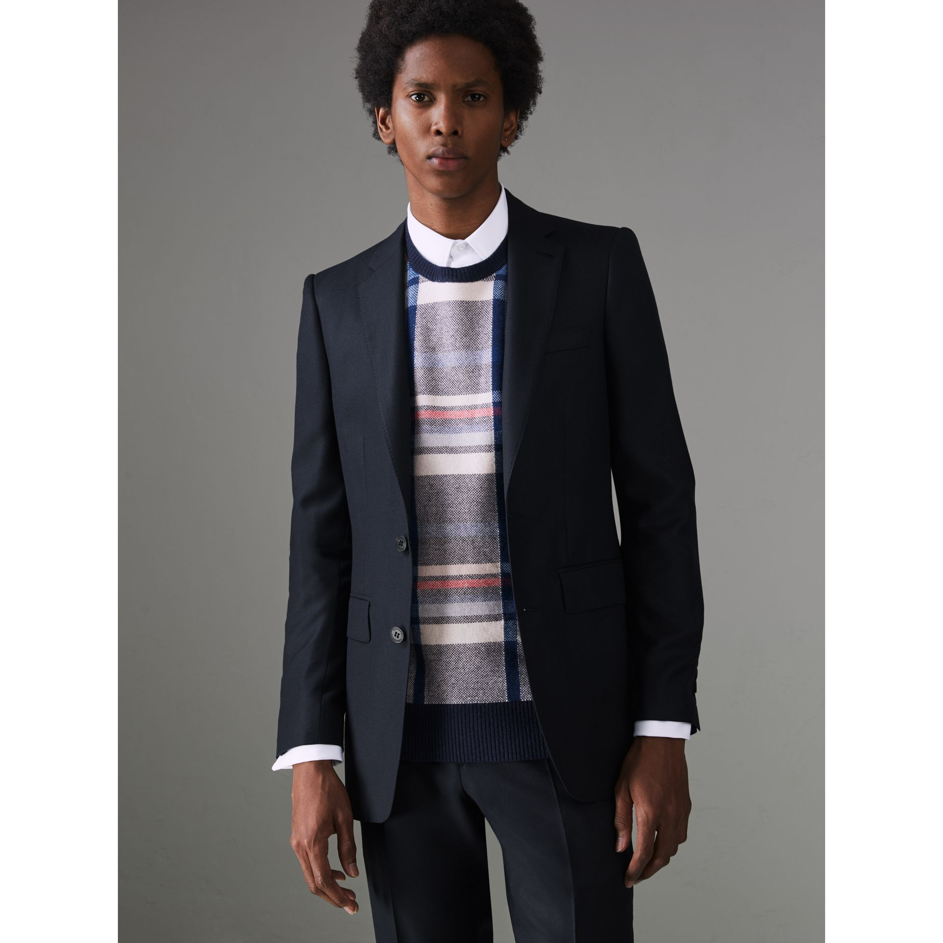 Slim Fit Birdseye Wool Suit in Navy - Men | Burberry United Kingdom - gallery image 6