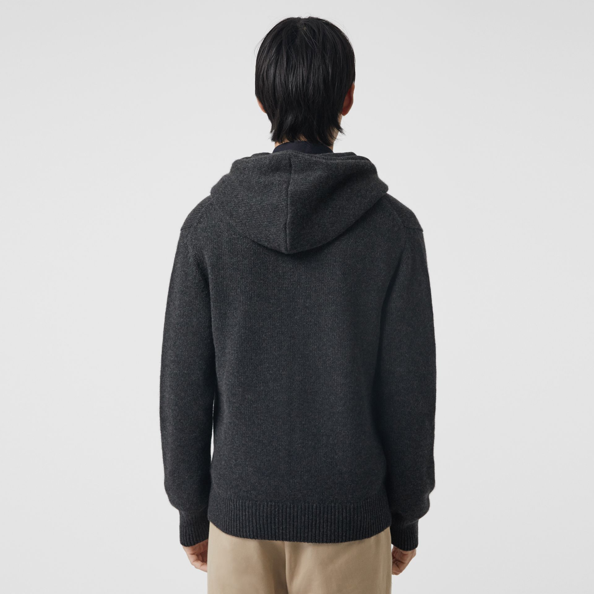 Cashmere Hooded Top in Charcoal Melange - Men | Burberry - gallery image 2