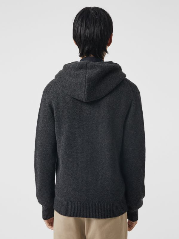 Cashmere Hooded Top in Charcoal Melange - Men | Burberry - cell image 2