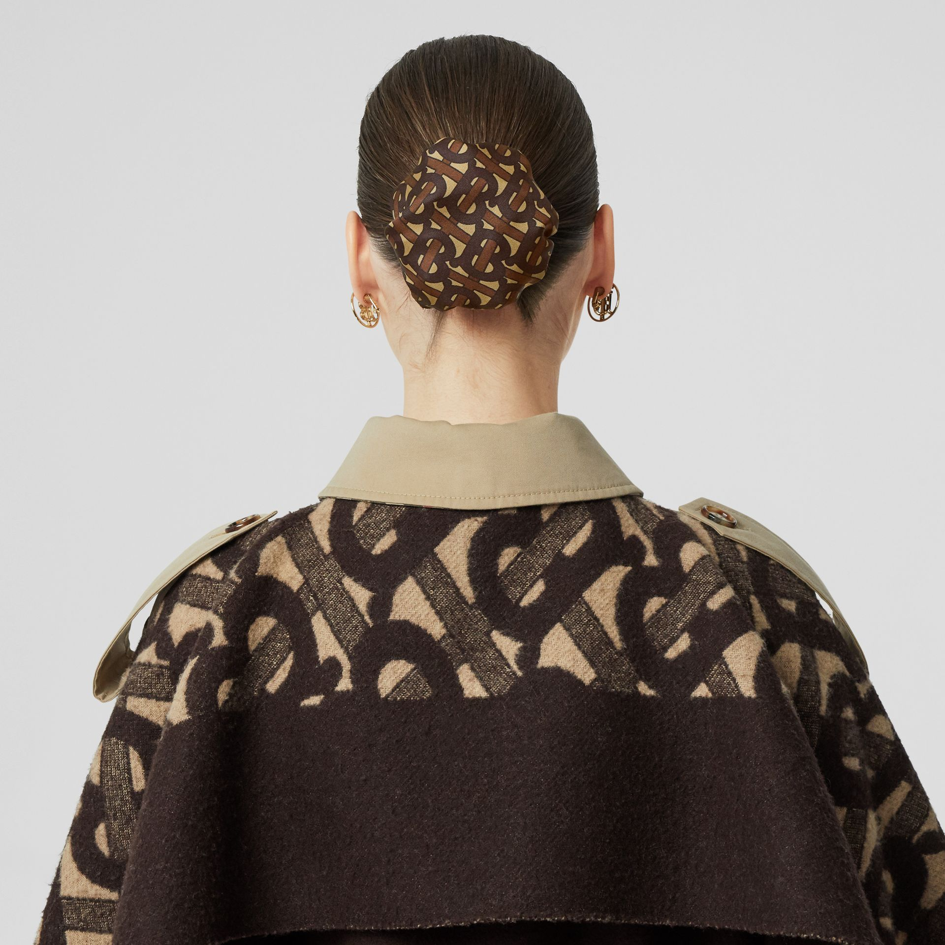 Monogram Print Silk Chignon Cover in Brown - Women | Burberry - gallery image 2