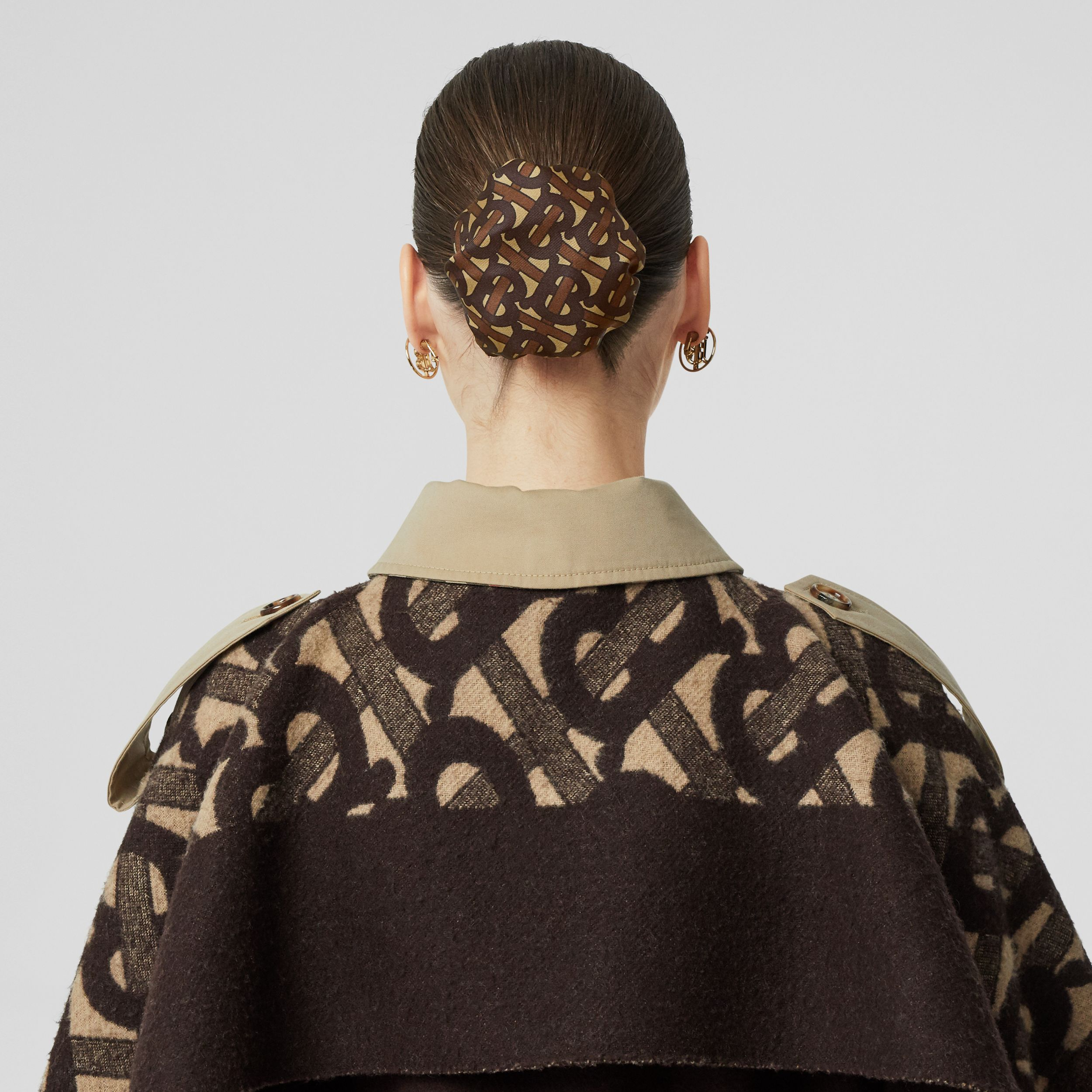 Monogram Print Silk Chignon Cover in Brown | Burberry - 3