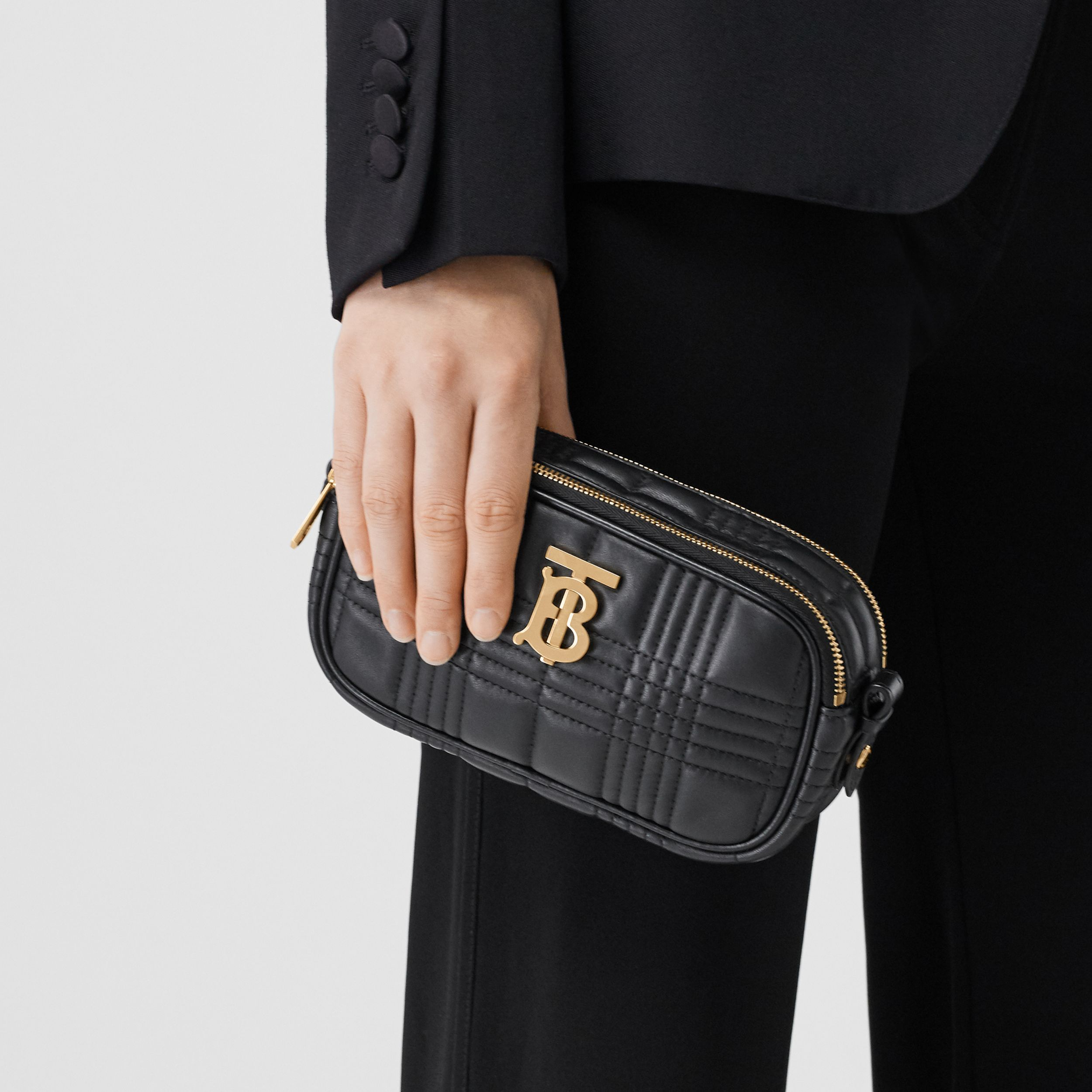 Mini Quilted Lambskin Camera Bag in Black | Burberry Canada - 3