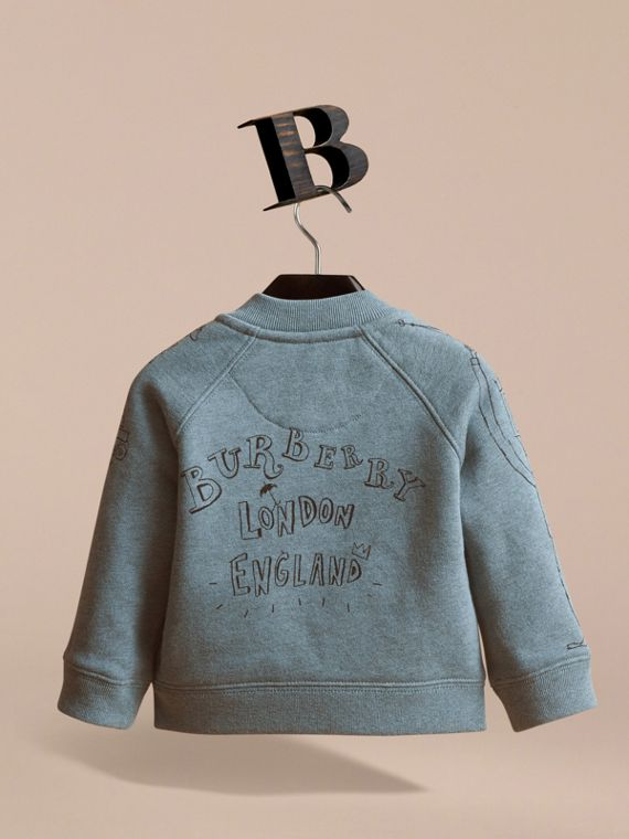 London Icons Print Cotton Zip-front Sweatshirt in Dusty Blue - Children | Burberry - cell image 3
