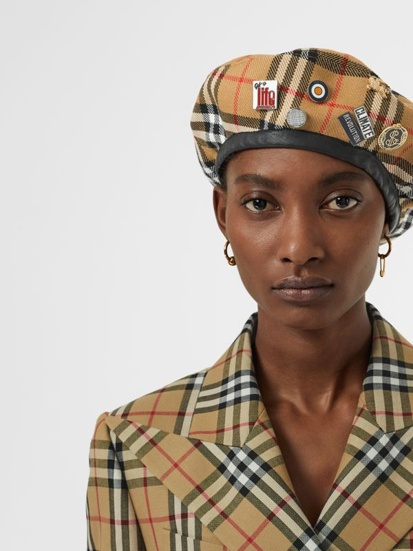 Pin Detail Vintage Check Wool Beret in Antique Yellow | Burberry Singapore - cell image 2