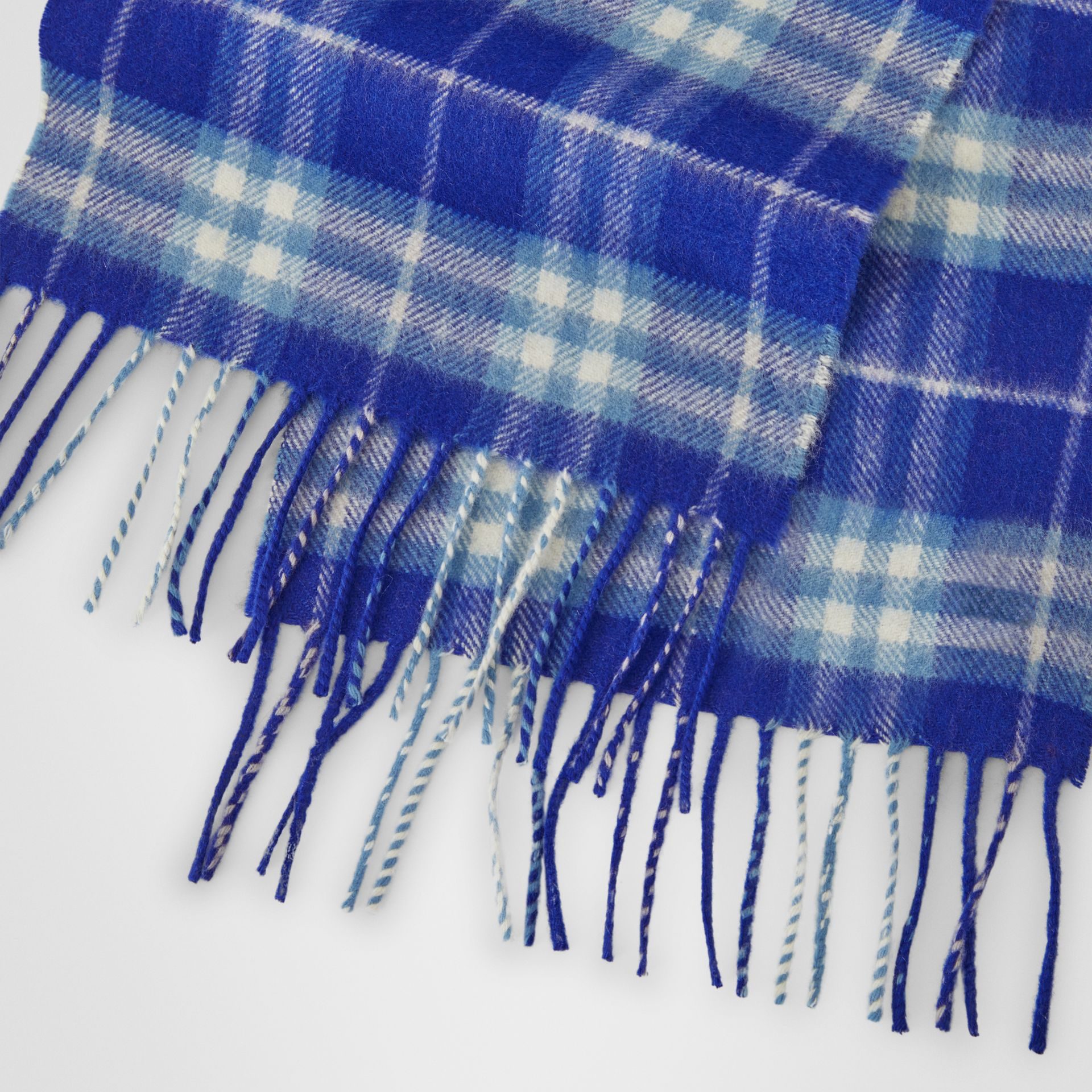 The Mini Classic Vintage Check Cashmere Scarf in Bright Lapis - Children | Burberry United States - gallery image 1