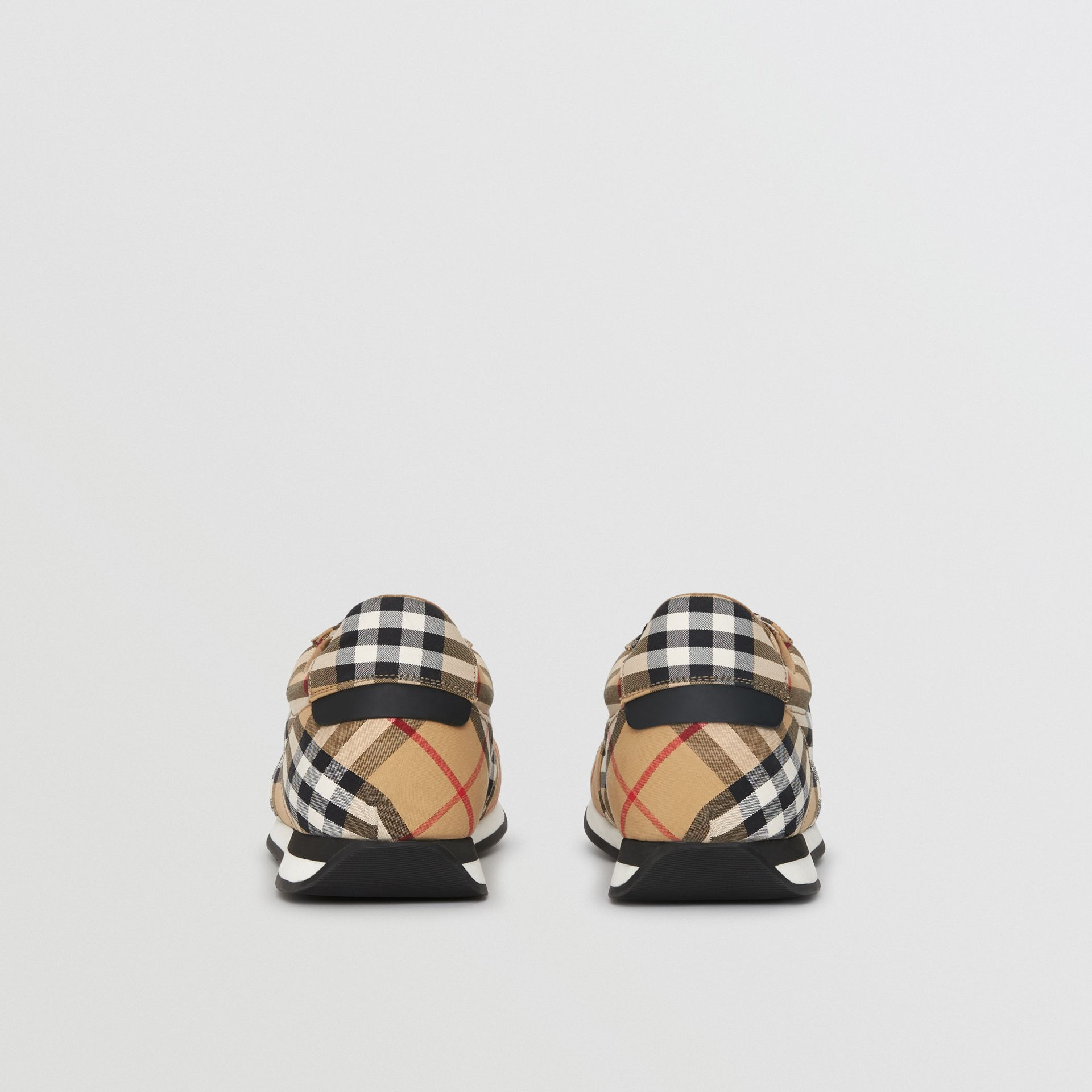 Vintage Check Cotton Trainers in Antique Yellow - Men | Burberry Hong Kong - gallery image 4